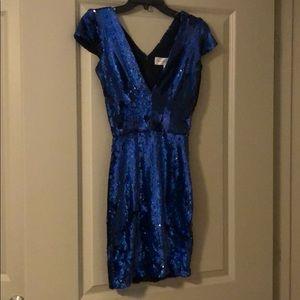 Dress The Population Blue Sequin Dress